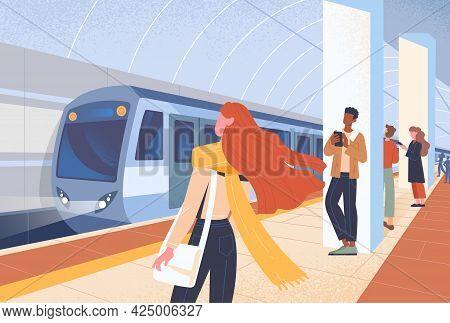 Subway Train Arriving Or Leaving Metro Platform. Urban Public Transport. Daily City Routine. Passeng