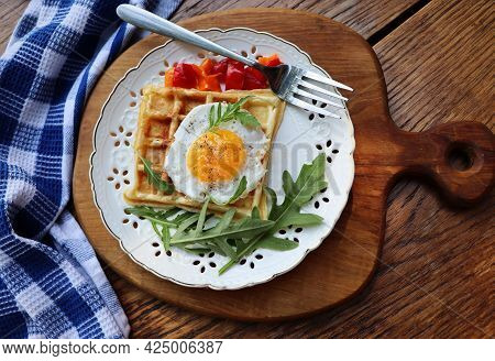 Healthy Breakfast . Freshly Made, Delicious Meal Of Eggs And Vegetables. Gluten-free Buckwheat Waffl