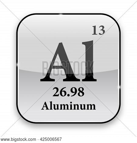 Aluminum Symbol.chemical Element Of The Periodic Table On A Glossy White Background In A Silver Fram
