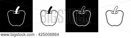 Set Apple Icon Isolated Set Background. Excess Weight. Healthy Diet Menu. Fitness Diet Apple. Vector