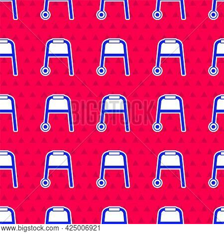 Blue Walker For Disabled Person Icon Isolated Seamless Pattern On Red Background. Vector