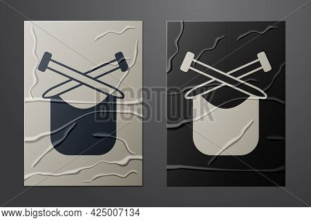White Knitting Icon Isolated On Crumpled Paper Background. Wool Emblem With Knitted Fabric And Needl
