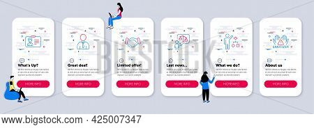 Set Of People Icons, Such As Human, Lawyer, Employees Handshake Icons. Ui Phone App Screens With Tea