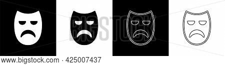 Set Drama Theatrical Mask Icon Isolated On Black And White Background. Vector