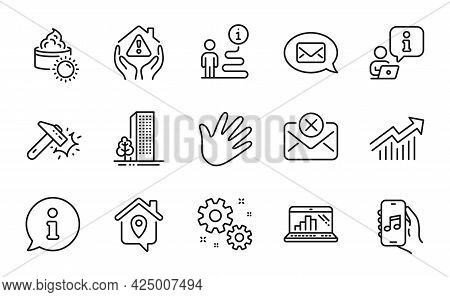 Business Icons Set. Included Icon As Hammer Blow, House Protection, Work Home Signs. Messenger, Hand