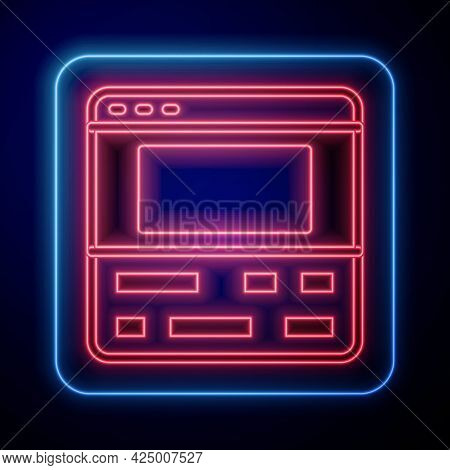 Glowing Neon Video Recorder Or Editor Software On Laptop Icon Isolated On Black Background. Video Ed
