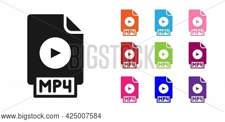 Black Mp4 File Document. Download Mp4 Button Icon Isolated On White Background. Mp4 File Symbol. Set