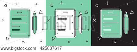 Set Scenario Icon Isolated On White And Green, Black Background. Script Reading Concept For Art Proj