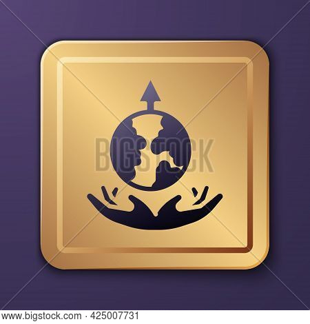 Purple World Expansion Icon Isolated On Purple Background. Gold Square Button. Vector