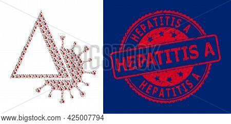 Hepatitis A Dirty Round Badge And Vector Recursive Mosaic Delta Covid Virus. Red Stamp Seal Includes