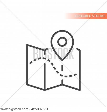 Map With Dashed Line Path And Location Pin. Outline Vector Icon, Editable Stroke.