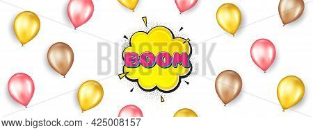 Boom Comic Cartoon Bubble Banner. Promotion Ad Banner With 3d Balloons. Discount Sticker Shape. Sale