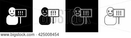 Set Protest Icon Isolated On Black And White Background. Meeting, Protester, Picket, Speech, Banner,