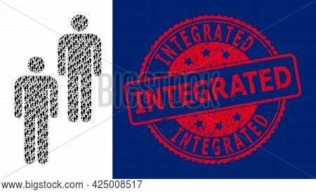 Integrated Corroded Round Stamp And Vector Recursion Collage Persons. Red Stamp Seal Contains Integr