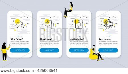 Set Of Line Icons, Such As Elevator, Stars, Alarm Clock Icons. Ui Phone App Screens With People. Cor