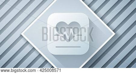 Paper Cut Heart Rate Icon Isolated On Grey Background. Heartbeat Sign. Heart Pulse Icon. Cardiogram