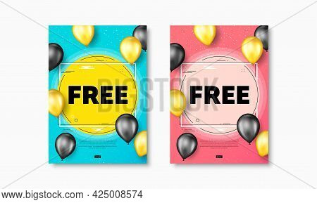 Free Text. Flyer Posters With Realistic Balloons Cover. Special Offer Sign. Sale Promotion Symbol. F