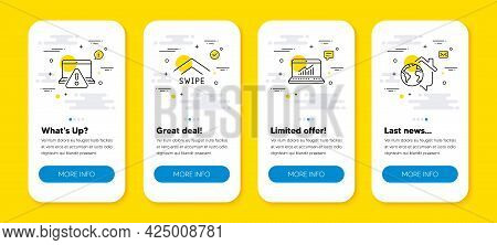 Vector Set Of Online Warning, Swipe Up And Online Statistics Line Icons Set. Ui Phone App Screens Wi