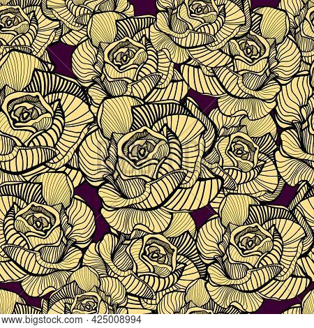 Vintage Floral Seamless Pattern With Hand Drawn, Line Art Roses Yellow Floral Background, Texture. A