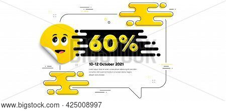 60 Percent Off Sale. Cartoon Face Sticker With Chat Bubble Frame. Discount Offer Price Sign. Special