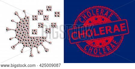 Cholerae Dirty Round Seal Print And Vector Fractal Collage Virus Synthesis. Red Stamp Seal Contains