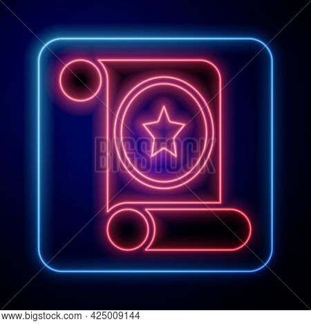 Glowing Neon Magic Scroll Icon Isolated On Black Background. Decree, Paper, Parchment, Scroll Icon.