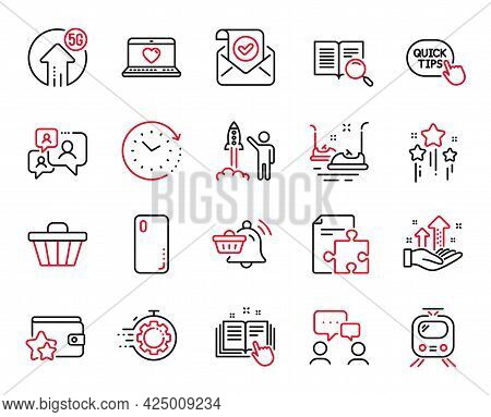 Vector Set Of Technology Icons Related To Launch Project, Bumper Cars And Shop Cart Icons. Smartphon