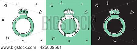 Set Fantasy Magic Stone Ring With Gem Icon Isolated On White And Green, Black Background. Vector