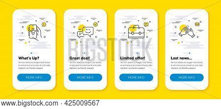 Vector Set Of Portfolio, Happy Emotion And Music App Line Icons Set. Ui Phone App Screens With Line