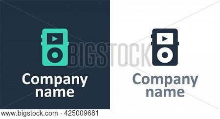 Logotype Music Player Icon Isolated On White Background. Portable Music Device. Logo Design Template