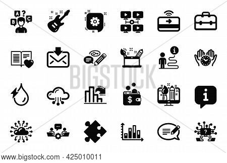 Vector Set Of Education Icons Related To Cloud Computing, Portfolio And Contactless Payment Icons. V