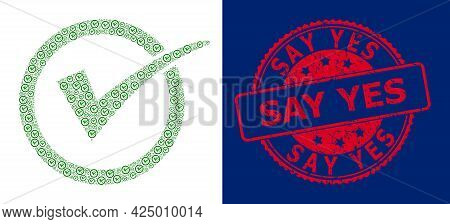 Say Yes Dirty Round Stamp Seal And Vector Recursive Mosaic Yes Tick. Red Stamp Seal Contains Say Yes