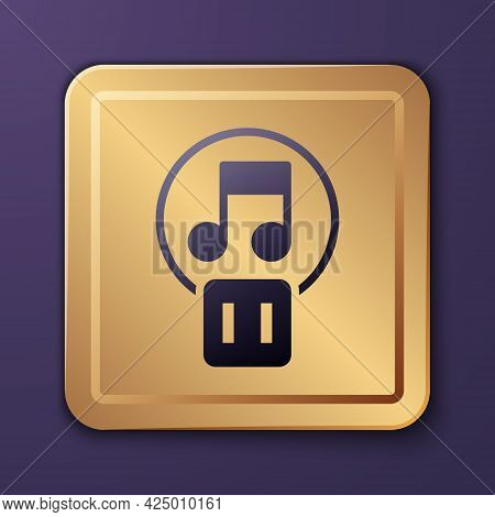 Purple Pause Button Icon Isolated On Purple Background. Gold Square Button. Vector