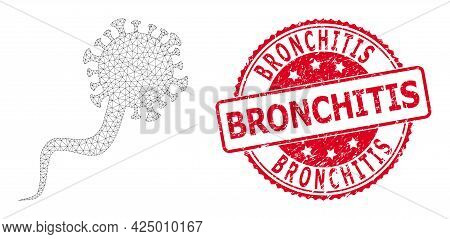Bronchitis Dirty Seal Imitation And Vector Virion Virus Mesh Model. Red Seal Includes Bronchitis Cap