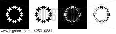 Set Crown Of Thorns Of Jesus Christ Icon Isolated On Black And White Background. Religion, Bible, Ch