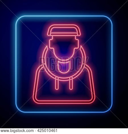 Glowing Neon Monk Icon Isolated On Black Background. Vector