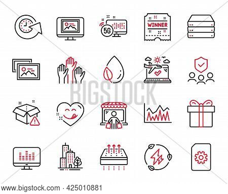 Vector Set Of Business Icons Related To Green Electricity, Yummy Smile And 5g Internet Icons. Voting