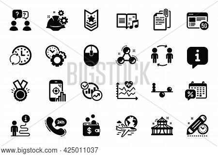 Vector Set Of Business Icons Related To 5g Internet, 24h Service And Music Book Icons. Update Time,