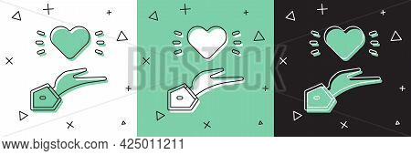 Set Pleasant Relationship Icon Isolated On White And Green, Black Background. Romantic Relationship