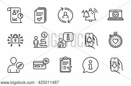 Technology Icons Set. Included Icon As Bell Alert, Edit User, Bell Signs. Handout, Approved Checklis