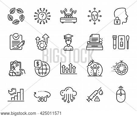 Vector Set Of Covid Test, Organic Tested And Cloud Storage Line Icons Set. Seo Timer, Rfp And Swipe