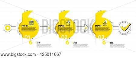 Trade Infographic Timeline With 3 Steps. Quotes Journey Path Infographics. Shopping Process Diagram