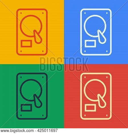 Pop Art Line Hard Disk Drive Hdd Icon Isolated On Color Background. Vector Illustration