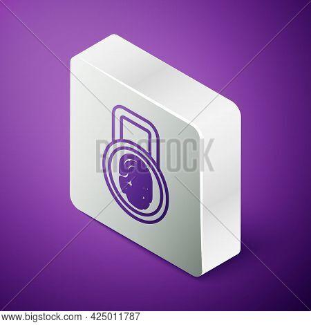 Isometric Line Fingerprint With Lock Icon Isolated On Purple Background. Id App Icon. Identification