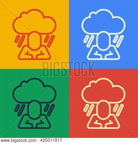 Pop Art Line Depression And Frustration Icon Isolated On Color Background. Man In Depressive State O