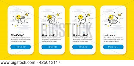 Vector Set Of Chemistry Lab, Online Voting And Work Home Line Icons Set. Ui Phone App Screens With L
