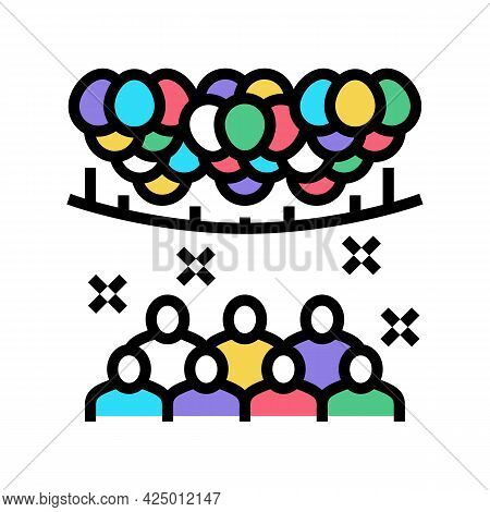 Surprise Party Decorated Balloon Color Icon Vector. Surprise Party Decorated Balloon Sign. Isolated