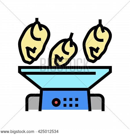 Mincing Machine Chicken Meat Factory Color Icon Vector. Mincing Machine Chicken Meat Factory Sign. I