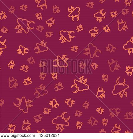 Brown Line Storm Icon Isolated Seamless Pattern On Red Background. Cloud With Lightning And Moon Sig
