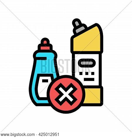 Chemical Liquid Prohibition Children Color Icon Vector. Chemical Liquid Prohibition Children Sign. I